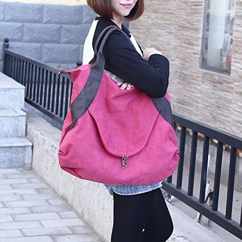 ba79c8fda1885 ... THEE Damen Retro Canvas Schultertasche Handtasche Einkaufstasche  Messenger Tasche Rot ...