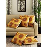"""Romee Polyester Jute Fabric Sunflower Printed Cushion Cover 16"""" X 16"""" Set Of 5 - Multicolor"""