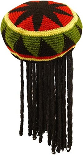 Adults Knitted Rastafarian Jamaican Rasta Beanie Hat & Dreadlocks Hair