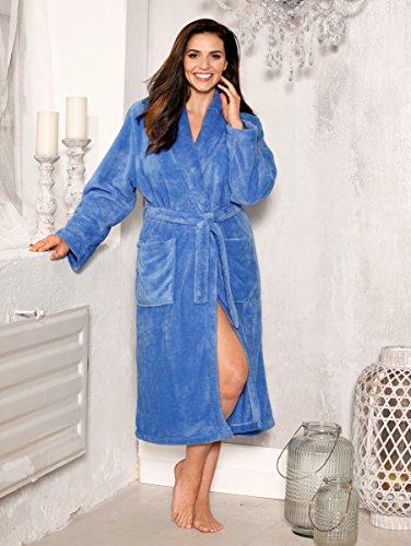 Damen Bademantel Flausch in weicher Flausch-Qualität by Harmony Azurblau