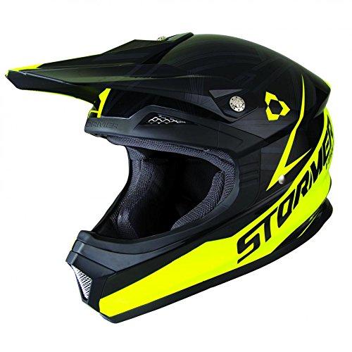 Stormer Casco de Motocross Edge Force, Negro/Amarillo,