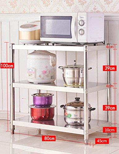 HWF Etagères de cuisine Étagère de cuisine en acier inoxydable 3 couches four à micro-ondes finition pour étagères étagères à étagères pour étagères étagères étagères (taille : 100 * 80 * 45cm)