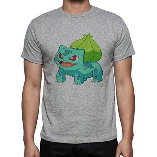 Pokemon Bulbasaur First Generation Grass Green Light Herren T-Shirt Grau