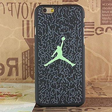 Air Jordan Luminous PC BLACK Étui rigide pour Apple Iphone 7, Shade White Crack Green