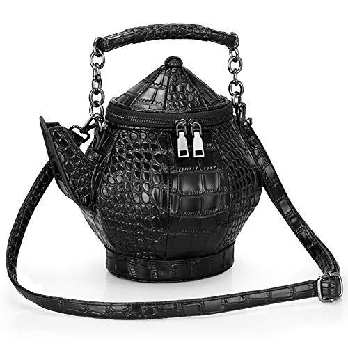 KJDFN Persönlichkeit 3D Flachmann Tasche PU Leder Teekanne Tasche Messenger Bag Schulter Flasche Tasche Outdoor Freizeit Mobile Handtasche Verschleißfest