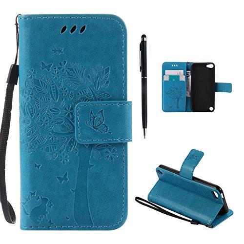 Hancda Hülle für iPod Touch 5/6G Hülle Leder Flip Case, Schutzhülle Ledertasche Handyhüllen Cover Magnet Dünn Geldbörse Taschen Stoßfest Handytasche für iPod Touch 5/6 Generation,Hülle Blau