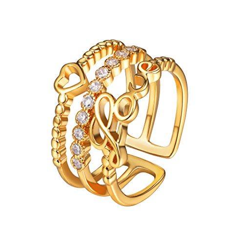 Love rings cubic zirconia anello aperto regolabile con lettera