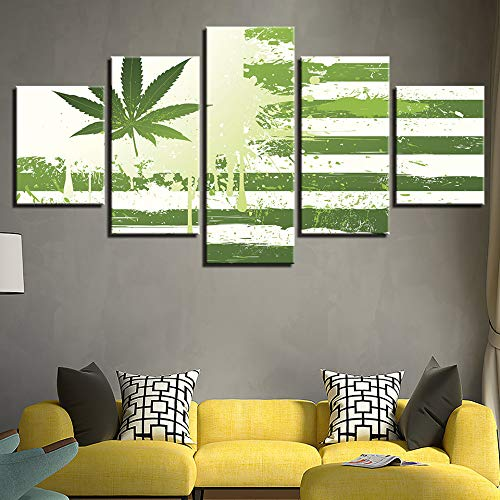ZKLIB Dekoratives Bild HD 5 Green Leaf Flag Poster Modulares Leinwandbild
