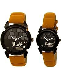 Om Designer Analogue Round Black Dial Hubby-Wifey Men & Women Couple Watch - Popular Couple Bown Belt #215LJK