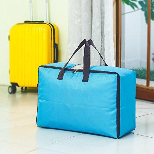 WAINIDE Quilt-Empfangstasche Große feuchtigkeitsfeste Kleidung Finishing Bag Transparente Reise-Kleidertasche Packtasche, L, blau -