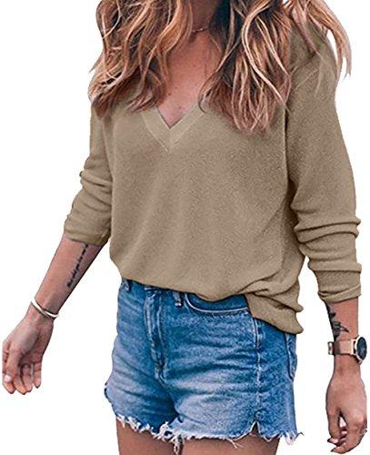 Cnfio Damen Casual Langarm V Ausschnitt Knit Tops Pullover Pulli (L, Khaki) (Casual Knit Top)