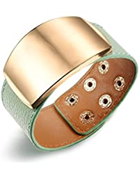 Mens Bracelet Green Favorite with Rose Gold Metal dial on top Leather BraceletBy The Roma Brothers