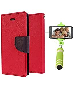 Aart Fancy Diary Card Wallet Flip Case Back Cover For Samsung A5 -(Red) + Mini Aux Wired Fashionable Selfie Stick Compatible for all Mobiles Phones By Aart Store