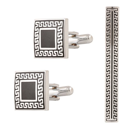 Tripin unique shape silver cufflink for men with amazing self design with...