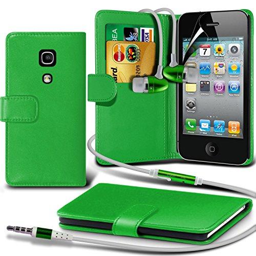 élégant PU Portefeuille en cuir couverture de peau de cas de secousse Avec écran LCD Protecteur Pour Apple iPhone 4 By Spyrox Vert + écouteur