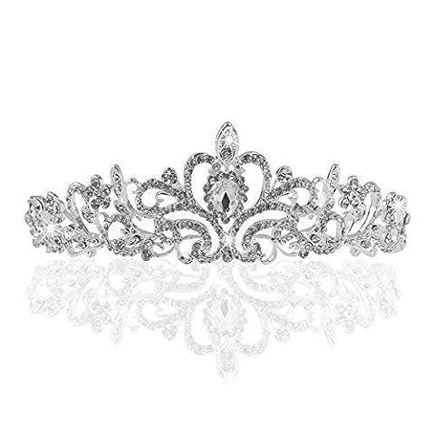 Tinksky Tiara Stirnband Braut Brautjungfern Kristall Diadem Strass Krone Tiara