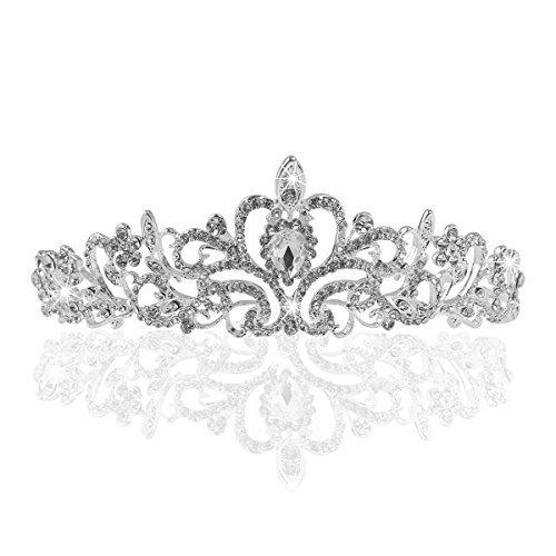 Tinksky Tiara Stirnband Braut Brautjungfern Kristall Diadem Strass Krone Tiara Stirnband für Hochzeitsfest(Silber)