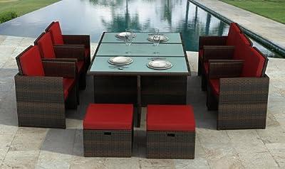 Gartenmöbel Bali braun/rot - Essgruppe Garten Möbel Tisch mit 6 Stühlen und 4 Hocker incl. Glas und Sitzkissen Rattan Polyrattan Garten Gartenausstattung von Jet-Line von Jet-Line
