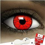 Lenti a contatto colorate'Devil' + capsule di sangue finto + portalenti per FXCONTACTS rosso, morbide, non corrette, in confezione da due: comode da indossare e ideali per Halloween o Carnevale