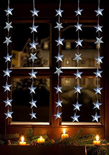 LED Lichtervorhang 40er Sterne kaltweiß 1x1,2m innen/außen 17187