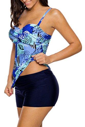 Set 2 Due Pezzi Costume da bagno a fiori Senza Maniche Incrocio Portafoglio Avvolgente Davanti Imbottito Tankini Canotte Top con Boxer Pantaloncini Swimwear Swimsuit Beach Wear Blu
