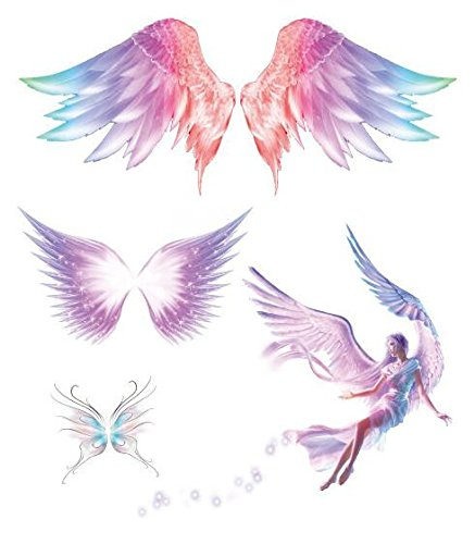 Yangll autoadesivi provvisori impermeabili del tatuaggio falso ali di angelo rosa disegno di sogno strumenti di trucco di arte del corpo 12x15cm4ps