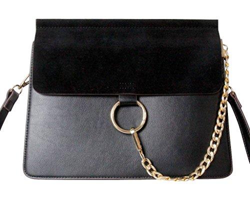 Schwarze Designer Damen-Handtasche by Sassyclassy | Elegante & Hochwertige Tasche aus Kunstleder | Chain-Bag mit goldfarbenen Kettendetail | Angesagter 2-Tone-Look | Umhängetasche mit crossbody (Biker Familie Kostüm)