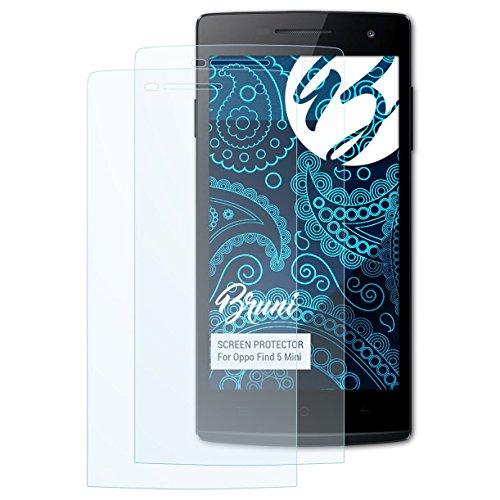 Bruni Schutzfolie für Oppo Find 5 Mini Folie, glasklare Bildschirmschutzfolie (2X)