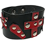 Search : Adjustable Press Stud Red Leather Gothic Punk Adult Cuff Wristband Made In England WB572