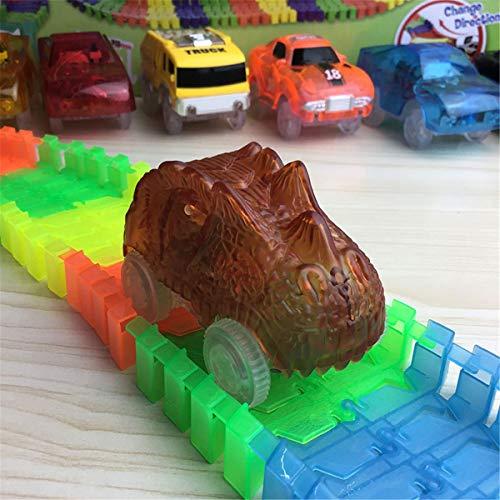 VVXXMODinosaurier-Schienenfahrzeuge, die mit Magic-Schienen und Neo-Schienen kompatibel sind, leuchten beim Rennstrecken-Zubehör mit 3 blinkenden LED-Leuchten auf -