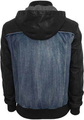 TB675 Hooded Denim Leather Jacket Herren Jacke Jeans Kapuze Denim/Black