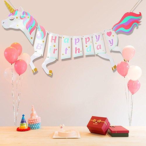 MMTX Einhorn Alles Gute Zum Geburtstag Banner, Einhorn Bunting Party Supplies Dekorationen für Mädchen und Kinder mit String Flag, Rainbow Themen Geburtstag Party Favors - Kopf-tisch-mittelstücke