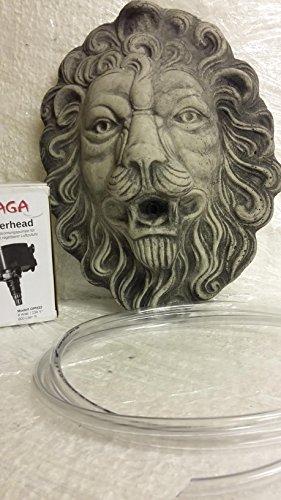 Löwe Löwen Kopf Löwenkopf Wasserspeier grau / Antrazith Wasserspiel Tierfigur Gartendeko Steinguss H 44 cm Frostfrei incl. Pumpe und Schlauch Verschenken Sie zu Weihnachten