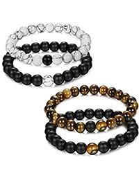 Jstyle Bijoux 4 Pcs(2 paires) Bracelet Couples Perle Naturelle Perles d'Énergie Onyx Noir Mat Pierre oeil de tigre Unisexe bracelets pour Les Hommes et les Femmes