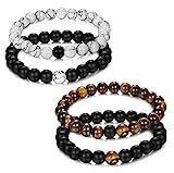 Jstyle Bijoux 4 Pcs(2 paires) Bracelet Couples Perles d'Énergie Onyx Noir Mat Pierre oeil de tigre...