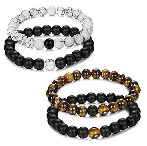 Jstyle Bijoux 4 Pcs(2 paires) Bracelet Couples Perles d'Énergie Onyx