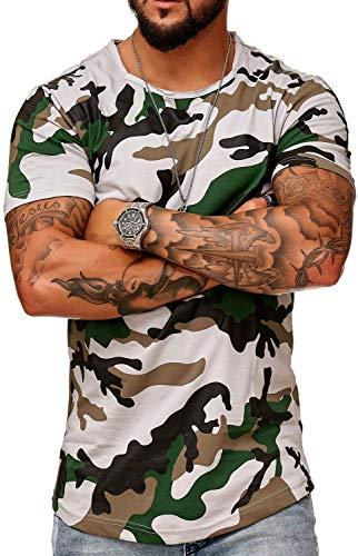 FiveSix Herren Slim Fit Kurzarm Camouflage Print T-Shirt Grau L