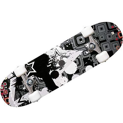 Deuba Atlantic Rift Skateboard Skate Board Komplettboard Deck Funboard Holzboard ABEC 9 80x24cm Ahornholz grau -【Farbauswahl】