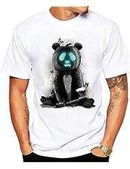 Verano Moda Tendencia Impresión Patrón Casual Chaqueta de Manga Corta 's Camisa 3d de Gran Tama?o Casual Camiseta,Blanco,L