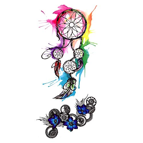 LBBMBC Wasserdicht temporäre Tätowierung Männer und Frauen Blaue Blume Nagel Muster Body Art Sticker (Halloween-nägel Und Schwarz Blau)
