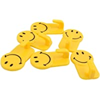 Duze Plastic Self-Adhesive Smiley Face Hooks,Upto 1 Kg Load Capacity, 12 Piece Set