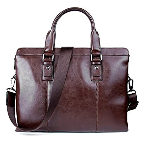 Dark Brown Ladies Leather Laptop Travel Bag Satchel for 13