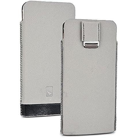 Cooper Cases(TM) Mini Pouch Custodia Universale per Smartphone da 5-5,5 pollici in Grigio (Fessure, Linguetta estraibile, Design Armonioso ed Elegante) - Universale Mini Cooper