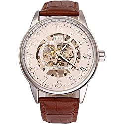 UNIQUEBELLA Men's Brown Leather Band White Dial Silver Case Hollow Skeleton Hand Wind Up Mechanical Quartz Wrist Watch, Steampunk Self-Winding Auto Mechanical Leather Wrist Watch