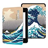 Ayotu Custodia in Pelle per Kindle Paperwhite 2018 - Case Cover Custodia Amazon Nuovo Kindle Paperwhite (10ª Generazione - Modello 2018), K10 The Surfing in Kanagawa