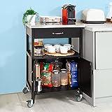 SoBuy® Servierwagen, Küchenwagen, Rollwagen mit Edelstahlarbeitsplatte,Getränkewagen fürs Büro,FKW22-SCH - 8
