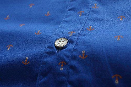 SSLR Herren Freizeit Straight Fit Printing Casual Kurzarm Hemd Königsblau