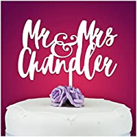 PERSONALISED Wedding/Anniversary Cake Topper Milestone - Personalise with ANY SURNAME - MR & MRS - Food Safe Acrylic Cake Decoration - Made from Strong 3mm Coloured Acrylic - 7 Different Colours