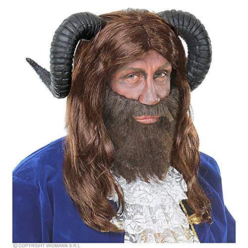 Lively Moments brünette Perücke / halblange Wig Bestie mit schwarzen Hörnern / Biest Kostüm - Kostüme Bestien