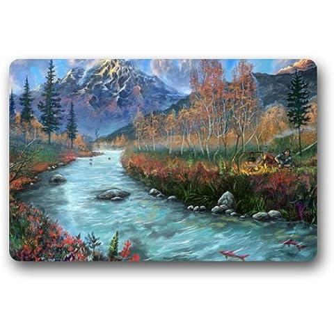 Custom it Arte pintado paisaje peces River Mountains Rocks Personas Fire rectangular decorativo antideslizante Felpudo 15,7por 23,6, 3/16